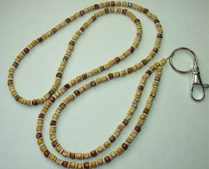 WOOD CUBES & SHELL ~BEADED LANYARD~ID BADGE HOLDER~LANYARDS