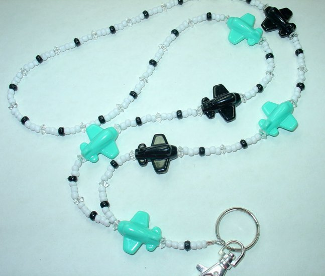 BLACK & AQUA AIRPLANES~BEADED LANYARD~ID BADGE HOLDER~LANYARDS