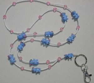 CUTE LITTLE BLUE MICE~BEADED LANYARD~ID BADGE HOLDER~LANYARDS