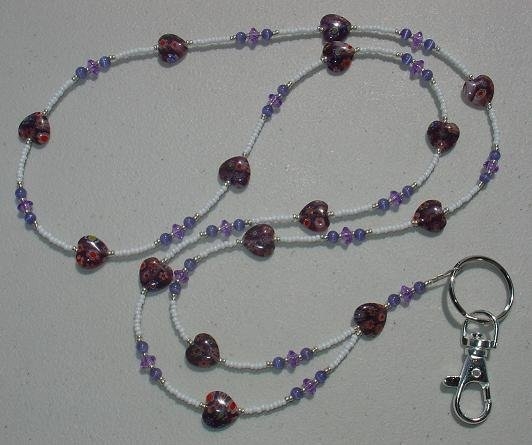 PURPLE MILLEFIORI HEARTS~BEADED LANYARD~ID BADGE HOLDER~LANYARDS