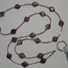 PURPLE RHOMBUS MILLEFIORI ~BEADED LANYARD~ID BADGE HOLDER~LANYARDS