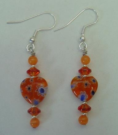 ORANGE MILLEFIORI HEART