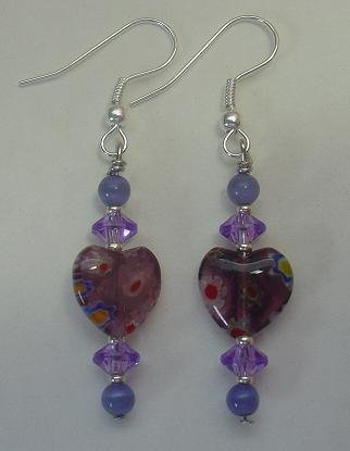 PURPLE MILLEFIORI HEARTS