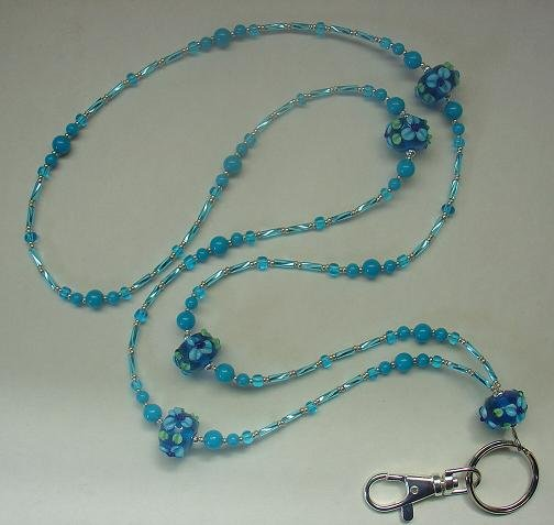 BLUE PARADISE LANYARD~ID BADGE  HOLDER