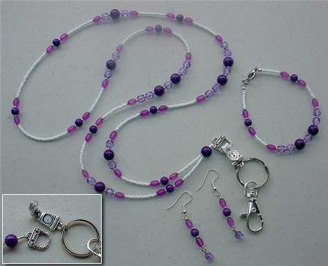 PURPLE PASSION~BEADED LANYARD~ID BADGE HOLDER~LANYARDS SET