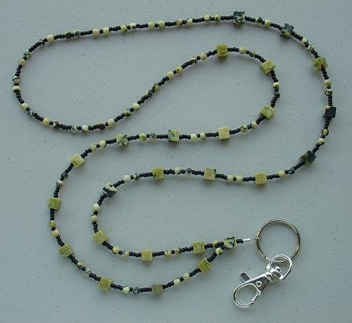 YELLOW TURQUOISE ~BEADED LANYARD~ID BADGE HOLDER~LANYARD