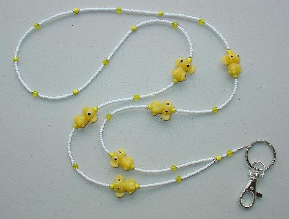 ~CUTE LITTLE YELLOW ELEPHANTS~BEADED LANYARD~ID BADGE HOLDER~