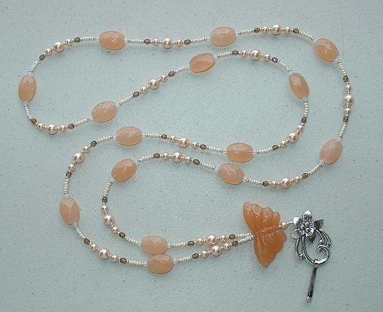 PEACH BUTTERFLY~BEADED LANYARD~ID BADGE HOLDER~LANYARD