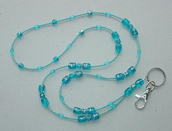 AQUA W/SILVER SWIRL~BEADED LANYARD~ID BADGE HOLDER~LANYARD