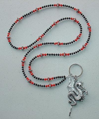 DRAGON RED/BLACK~BEADED LANYARD~ID BADGE HOLDER~LANYARD