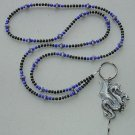 DRAGON BLUE/BLACK~BEADED LANYARD~ID BADGE HOLDER~LANYARD