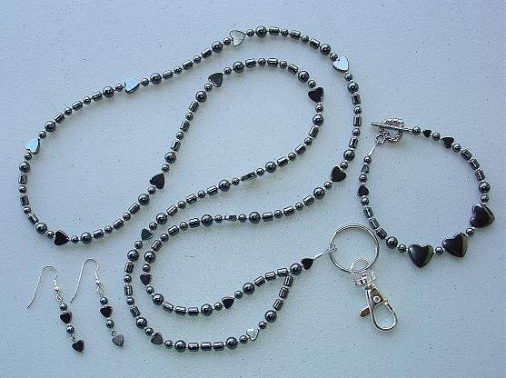 HEMATITE SET~BEADED LANYARD~ID BADGE HOLDER~LANYARD