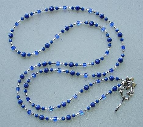 ROYAL BLUE MOUNTAIN JADE~BEADED LANYARD~ID BADGE HOLDER~LANYARD