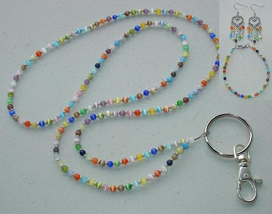 KALEIDOSCOPE SET~BEADED LANYARD~ID BADGE HOLDER~LANYARD