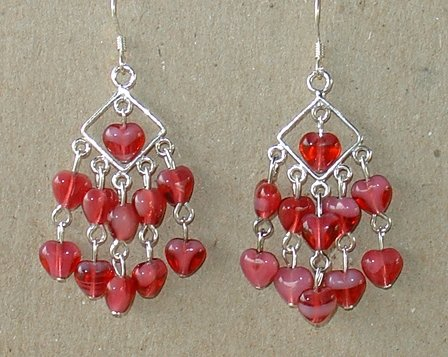 STERLING SILVER~PEARL/FUSHSIA HEART~EARRINGS