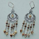 OPAQUE WHITE PICASSO CHANDELIER EARRINGS~SILVER