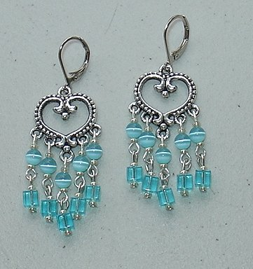 TURQUOISE BLUE CATS EYE CHANDELIER EARRINGS