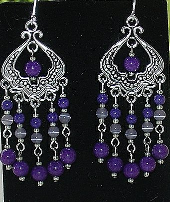 PURPLE MOUNTAIN JADE~CATS EYE~CHANELIER EARRINGS