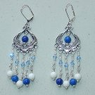 SWAROVSKI~BLUE & WHITE MOUNTAIN JADE CHANDELIER EARRINGS