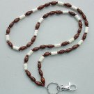 BROWN WOOD OVALS & CARVED BONE~BEADED LANYARD~ID BADGE HOLDER~LANYARD