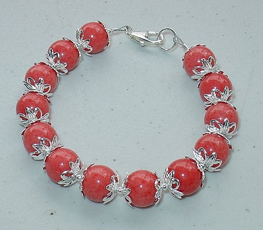 CORAL MOUNTAIN JADE~STERLING SILVER~BRACELET