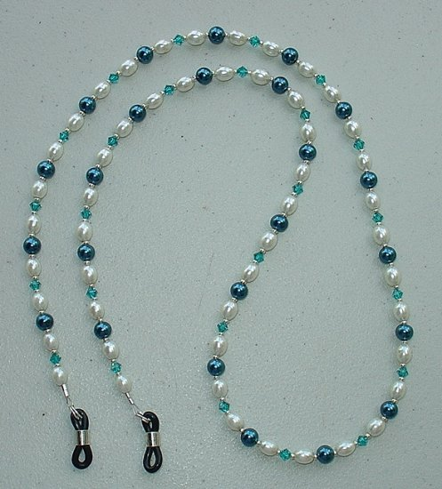 TEAL BLUE PEARL~SWAROVSKI~EYE GLASS HOLDER