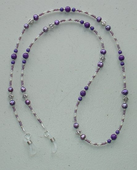 PURPLE MOUNTAIN JADE~FRESH WATER PEARL~EYEGLASS HOLDER