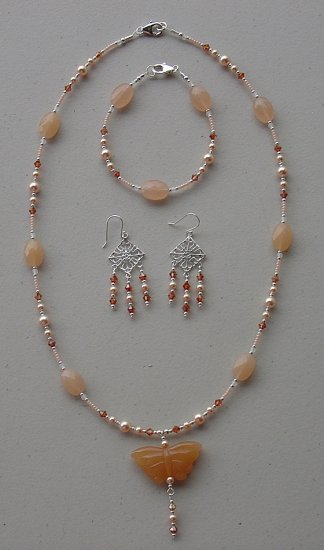 SWAROVSKI PEACH PEARL~BUTTERFLY~STERLING SILVER~NECKLACE~BRACELET~EARRINGS~SET