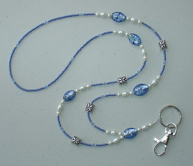 SAPPHIRE~PEARL~BEADED LANYARD~ID BADGE HOLDER~LANYARD