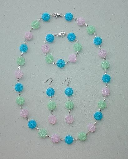 FLORAL~PASTEL~STERLING SILVER~NECKLACE~BRACELET~EARRING SET