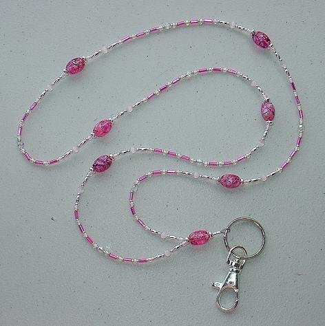 FUCHIA~PINK CATS EYE~BEADED LANYARD~ID BADGE HOLDER~LANYARD
