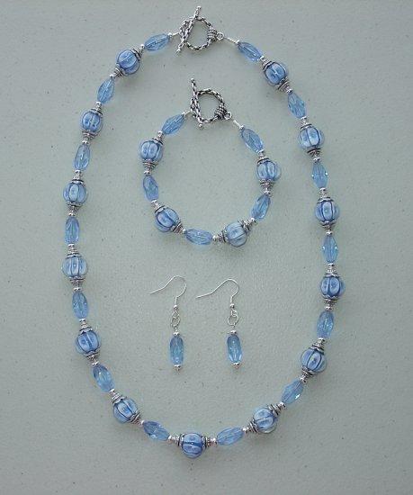 SAPPHIRE BLUE~NECKLACE~BRACELET~EARRING SET