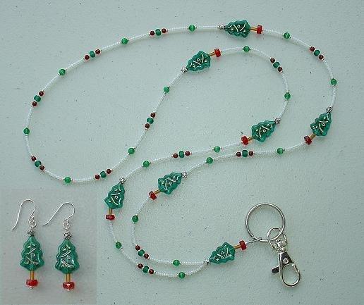 BEAUTIFUL CHRISTMAS TREE~BEADED LANYARD~ID BADGE HOLDER~LANYARD & EARRING SET