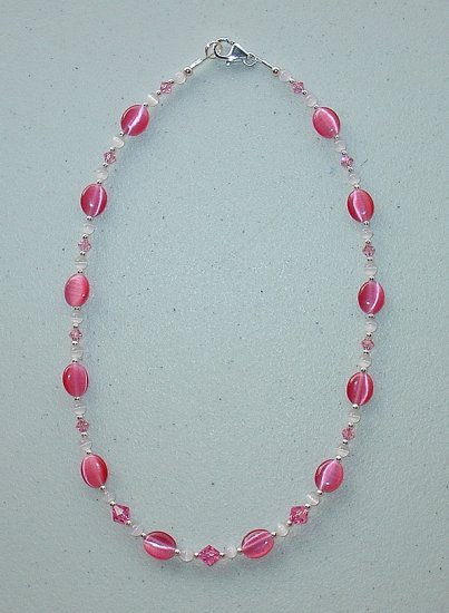 NEW~LIL PRINCESS~SWAROVSKI ROSE/LT.ROSE~PINK CATS EYE~CHILDS NECKLACE