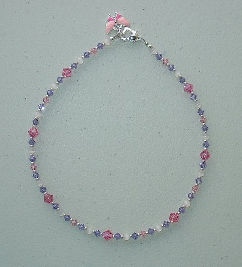 NEW~LIL PRINCESS~SWAROVSKI ROSE/LT.ROSE/TANZANITE~CHILDS NECKLACE