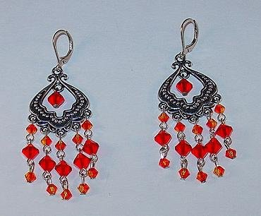 SWAROVSKI FIRE OPAL & LIGHT SIAM CHANDELIER EARRINGS