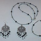 SWAROVSKI BLACK & BLACK DIAMOND~FILLIGREE~STERLING SILVER~NECKLACE~BRACELET~EARRINGS~SET