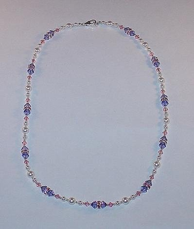 BEAUTIFUL SWAROVSKI TANZANITE & LIGHT ROSE, PEARL, STERLING SILVER NECKLACE
