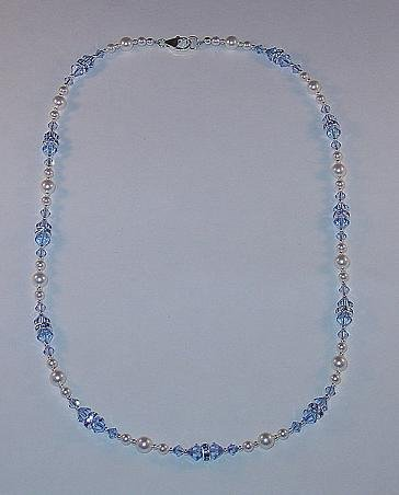BEAUTIFUL SWAROVSKI SAPPHIRE, PEARL, STERLING SILVER NECKLACE