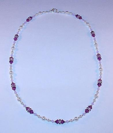 BEAUTIFUL SWAROVSKI AMETHYST/VIOLET OPAL, PEARL, STERLING SILVER NECKLACE
