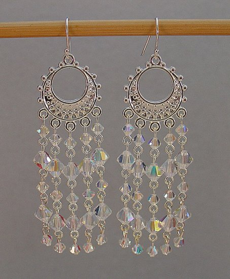 SWAROVSKI~CLEAR AB~STERLING SILVER CHANDELIER EARRINGS
