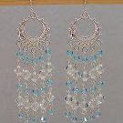 SWAROVSKI~AQUAMARINE~CRYSTAL~STERLING SILVER CHANDELIER EARRINGS