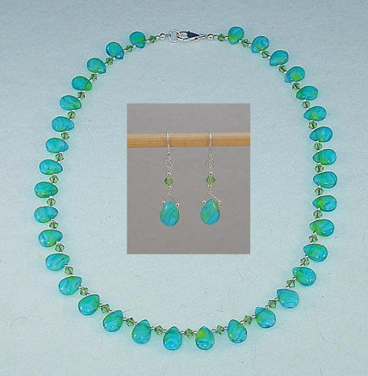 AQUA TEARDROP & SWAROVSKI NECKLACE & EARRING SET