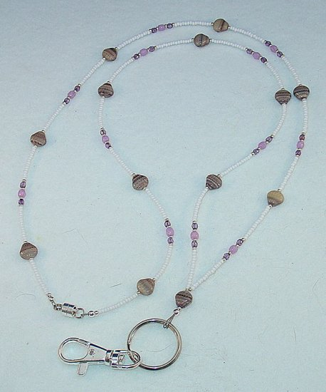 BLACKBERRY CREAM SWIRL SEA SHELL~BEADED LANYARD~ID BADGE HOLDER~LANYARD