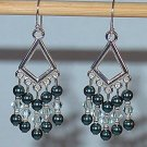 SWAROVSKI TAHITIAN LOOK PEARL CHANDELIER EARRINGS