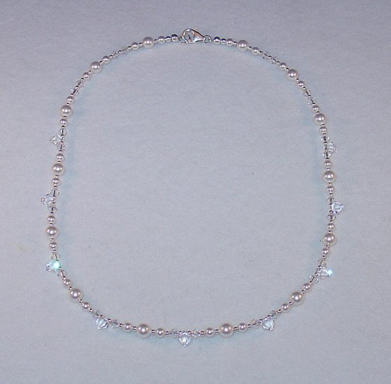 SWAROVSKI CRYSTAL~PEARL~STERLING SILVER NECKLACE