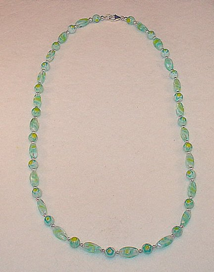 BEAUTIFUL AQUA MILLEFIORI FLORAL~SWIRLS~NECKLACE