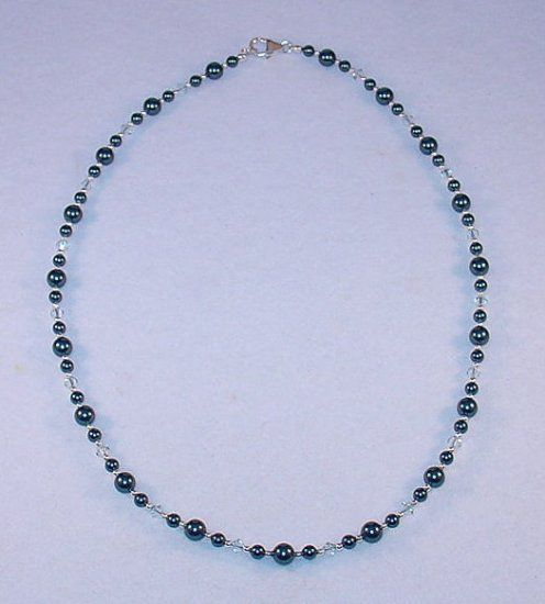 BEAUTIFUL SWAROVSKI TAHITIAN PEARL, STERLING SILVER NECKLACE