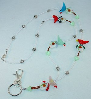 BIRDHOUSE~BEADED LANYARD~ID BADGE HOLDER~LANYARD~BREAK AWAY