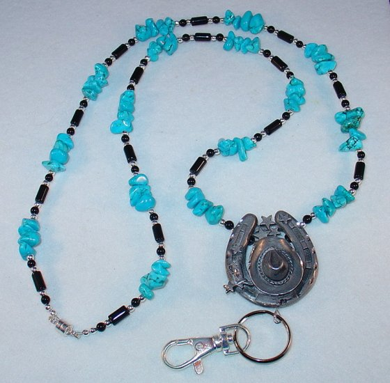 WESTERN COWBOY HAT & HORSESHOE~PEWTER~BEADED LANYARD~ID BADGE HOLDER~LANYARD~BREAK AWAY